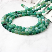LingXiang natural The Green stripe frosted Agats Loose beads 6/8/10/12mm DIY woman bracelet necklace ear stud accessories