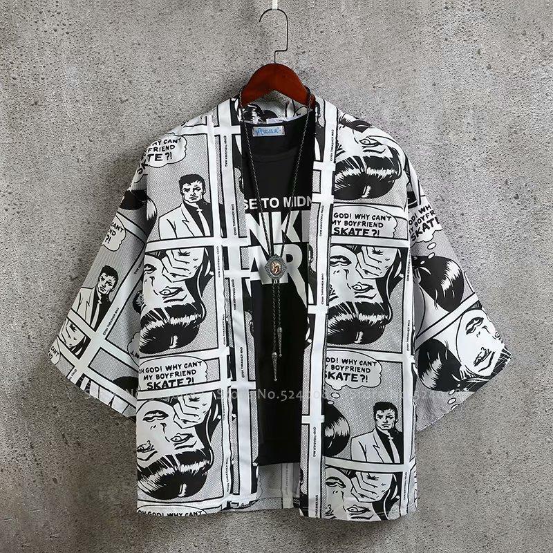 Japanese Anime T-Shirt Male Hip Hop Robes Gown Loose Kimono Yukata Men Women Harajuku Style Cardigan Graffiti Comic Coat Jackets