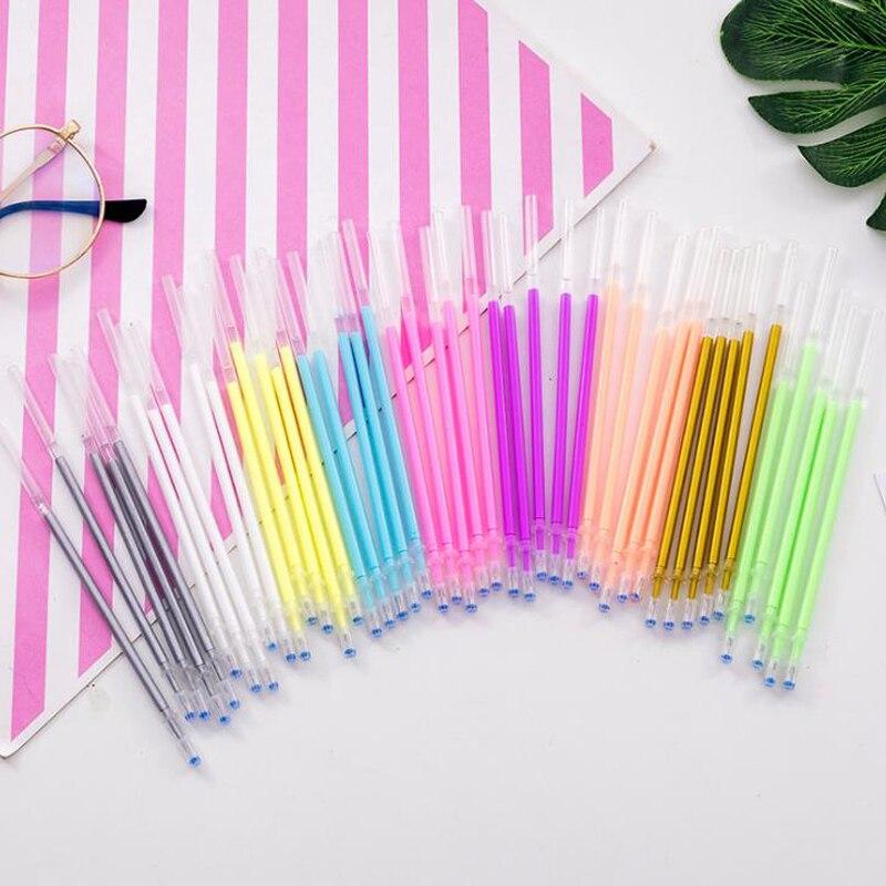 10 Pcs/set Kawaii 9 Colors Rainbow Flash Gel Pen Refills Highlighter Refill Leads Shinning Painting Pen Refills Stationery