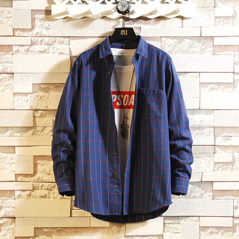 HIP HOP Streetwear Casual Plaid Dark Blue Shirt For Men's Long Sleeve 2020 Spring Autumn Korea OverSize Clothes