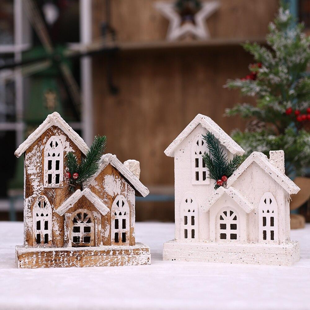25*21*9 см Рождественская Деревянная Башня, замок, христианские церковные украшения и украшения, светящийся дом, снежный дом, украшение, подарок|Наконечники для елки| | АлиЭкспресс