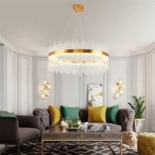 Modern transparent crystal chandelier ceiling LED chandelier high-end hotel interior lighting decoration living room dining room