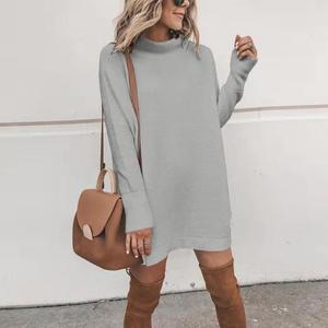 Image 2 - New Turtleneck Solid Knitted Sweaters Dress Women Long Sleeve Slim Streetwear Pullovers Oversized Sweater Pull