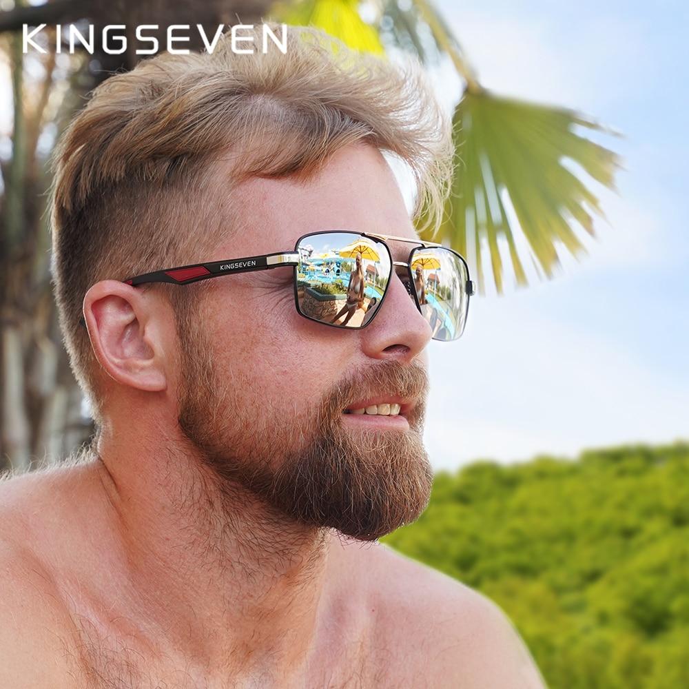 KINGSEVEN Aluminum Men's Sunglasses Polarized Lens Brand Design Temples Sun glasses Coating Mirror Glasses Oculos de sol 7719 4