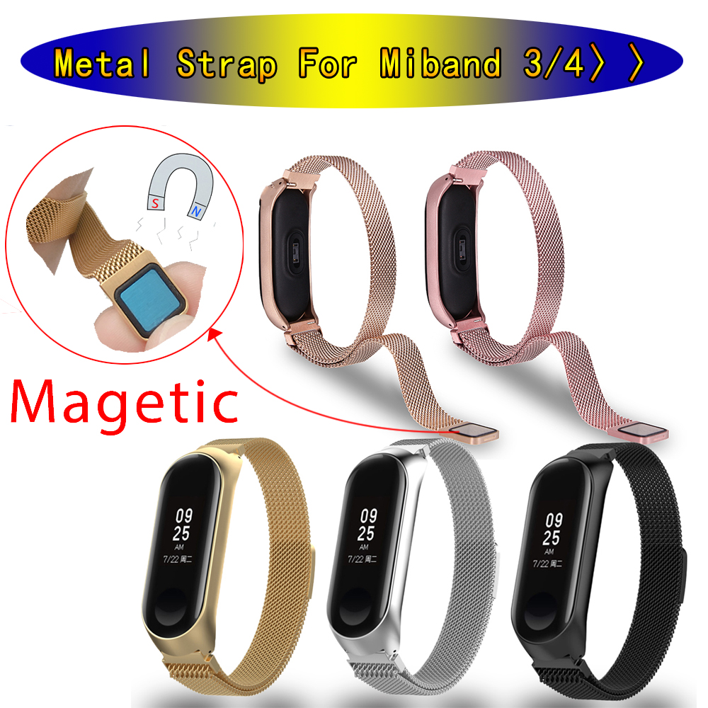 For Mi Band 3 4 Wrist Strap Metal Bracelet Magnetic Stainless Steel For Xiaomi Mi Band 4 3 Strap Miband 4 3 Wristbands Pulseira