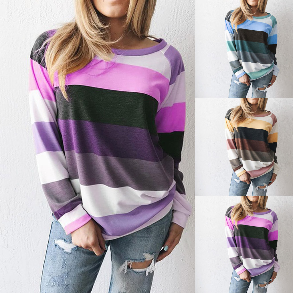 Women's Casual Loose Striped Pullover Sweatershirt Europe And The United Blouses Femme Blusas Mujer De Moda