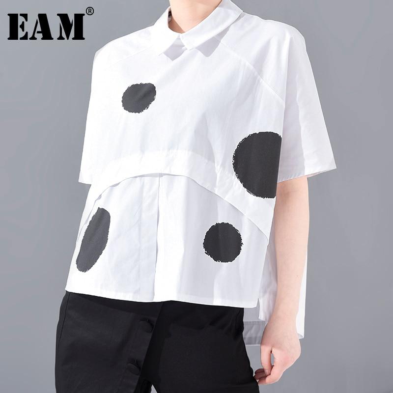 [EAM] Women Dot Printed Big Size Irregular Blouse New Lapel Short Sleeve Loose Fit Shirt Fashion Tide Spring Summer 2020 JS78900