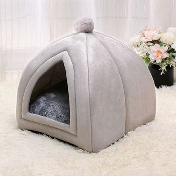 Winter Warm Pet Cat Bed House Soft Foldable Non-slip Bottom   1