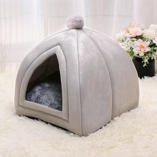 Winter Warm Pet Cat Bed House Soft Foldable Non-slip Bottom 1