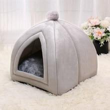 Inverno quente pet cat bed house macio dobrável não-deslizamento inferior camas para animais de estimação tenda removível lavável gatos ninho filhote de cachorro canil do cão