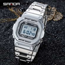 SANDA 2020 Hot Sell Digital Watch Luxury Multifunctional Men Clock Large Square Luminous Dial Steel Band Relogio Masculino 390