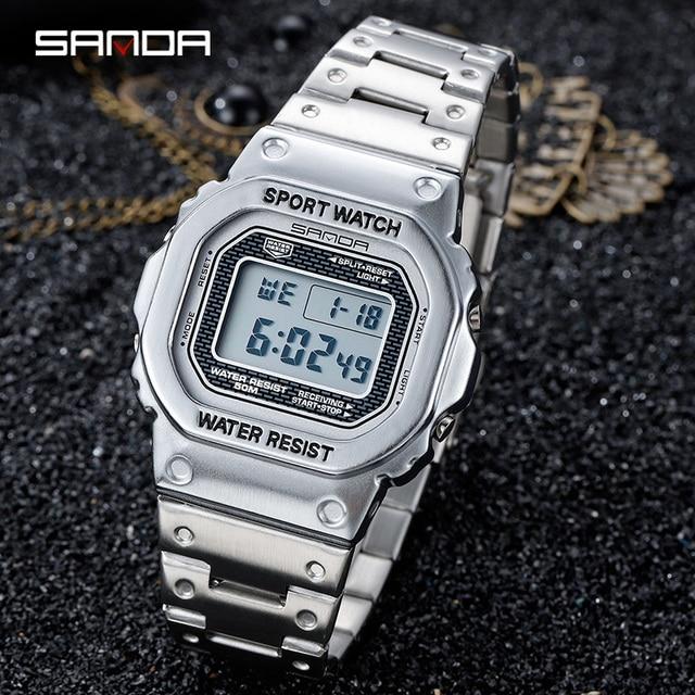 Часы наручные SANDA Мужские Цифровые, люксовые многофункциональные большие квадратные светящиеся циферблаты со стальным браслетом, 2020, 390