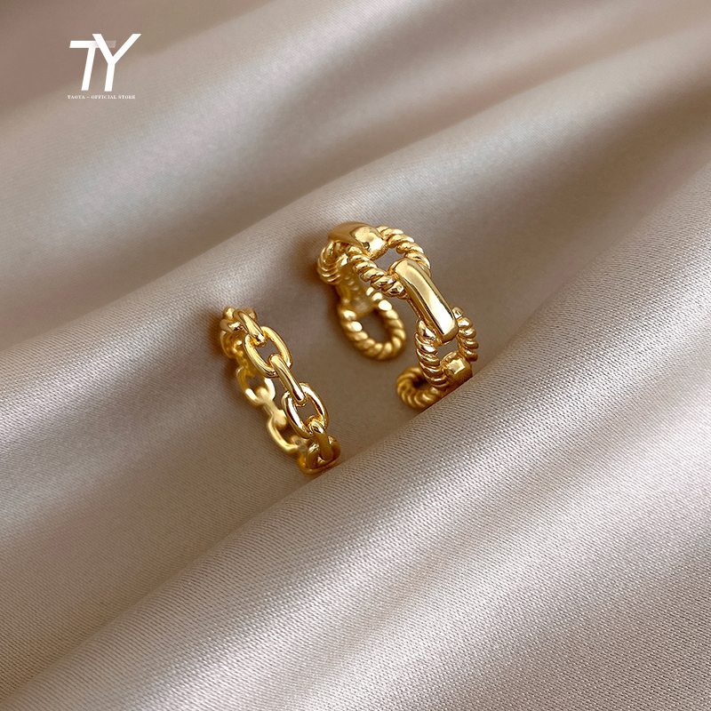 2020 New Design Chain Twist Open Ring For Woman Fashion Korean Jewelry Unusual Wedding Party Ring Girl's Finger Accessories