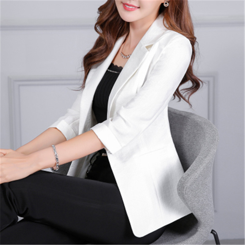 New Casual White Women Blazers And Jackets Summer Fashion Blazer Female Thin Three Quarter Blazer Mujer CJ023