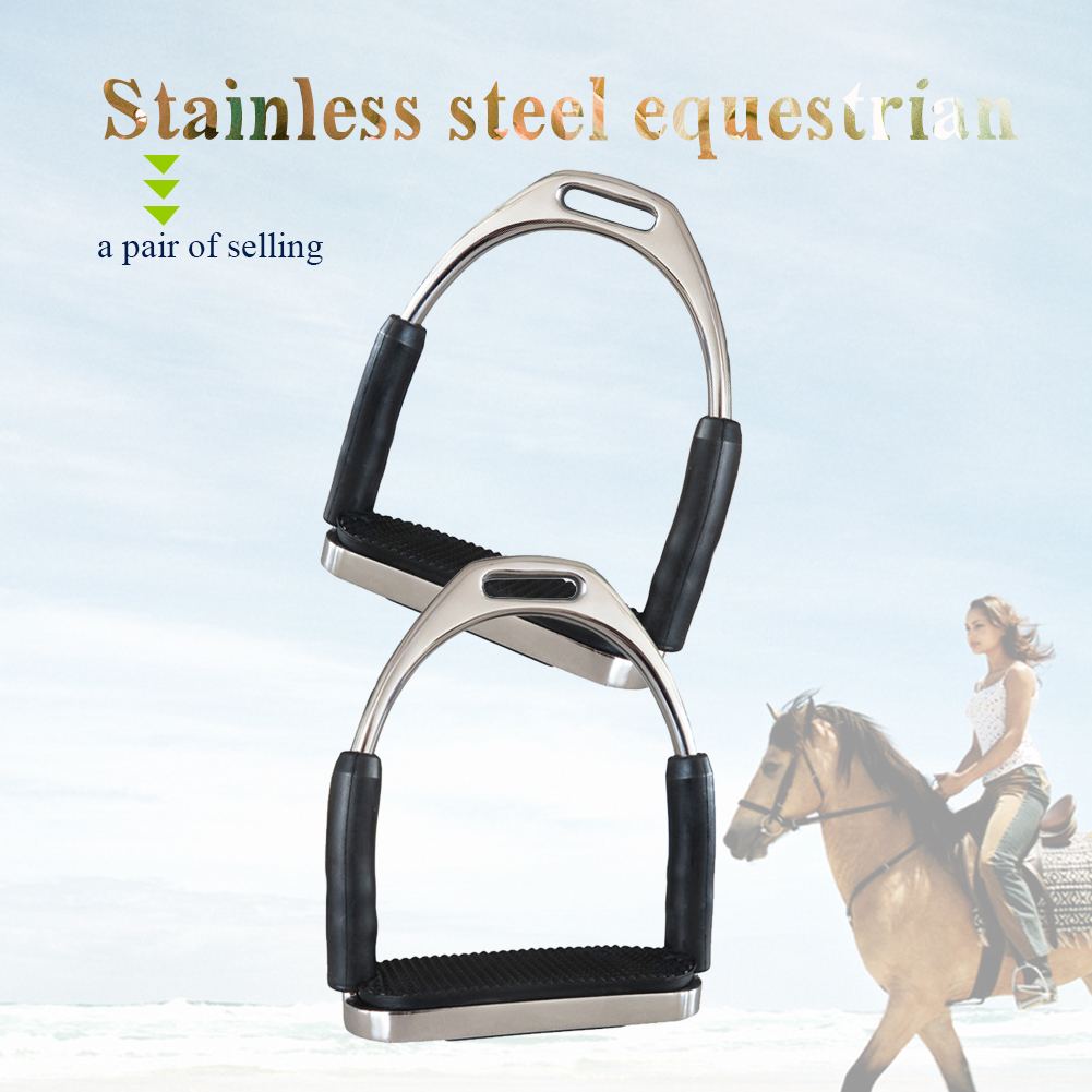 1 Pair Safety Horse Riding Harness Supplies Saddle Pedals Anti Slip Horse Riding Stirrups Folding Stainless Steel  Saddle Pedals