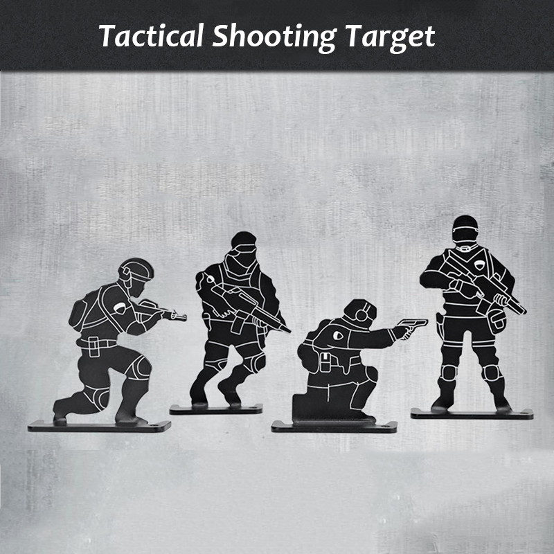 4 Pcs/set Outdoor Shooting Target Set Metal Airsoft Rifle Pistol BB Gun Practice Tactical Target Set Archery Kit Target Hunting