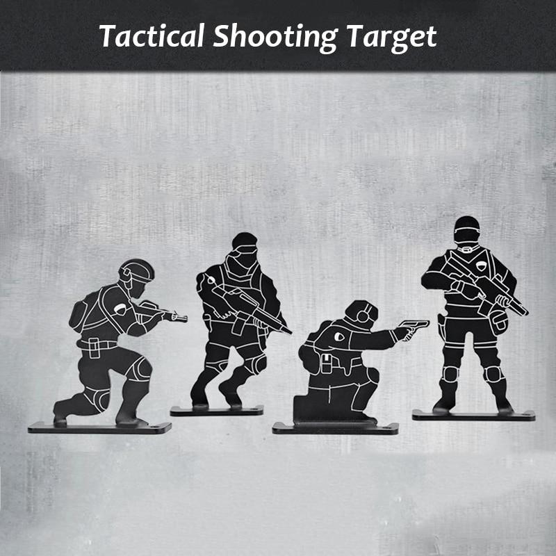 4 Pcs/set Outdoor Shooting Target Set Metal Airsoft Rifle Pistol BB Gun Practice Tactical Target Set Archery Kit Target Hunting