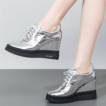 цена на Tennis Shoes Women Cow Leather Wedges Platform Pumps Lace Up Round Toe High Heel Ankle Boots Punk Goth Trainers Casual Shoes New