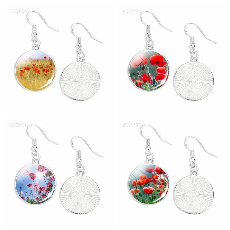 Poppy Jewelry Sculpted Flower Earrings Poppy Drop Earrings Poppy Dangle Earrings
