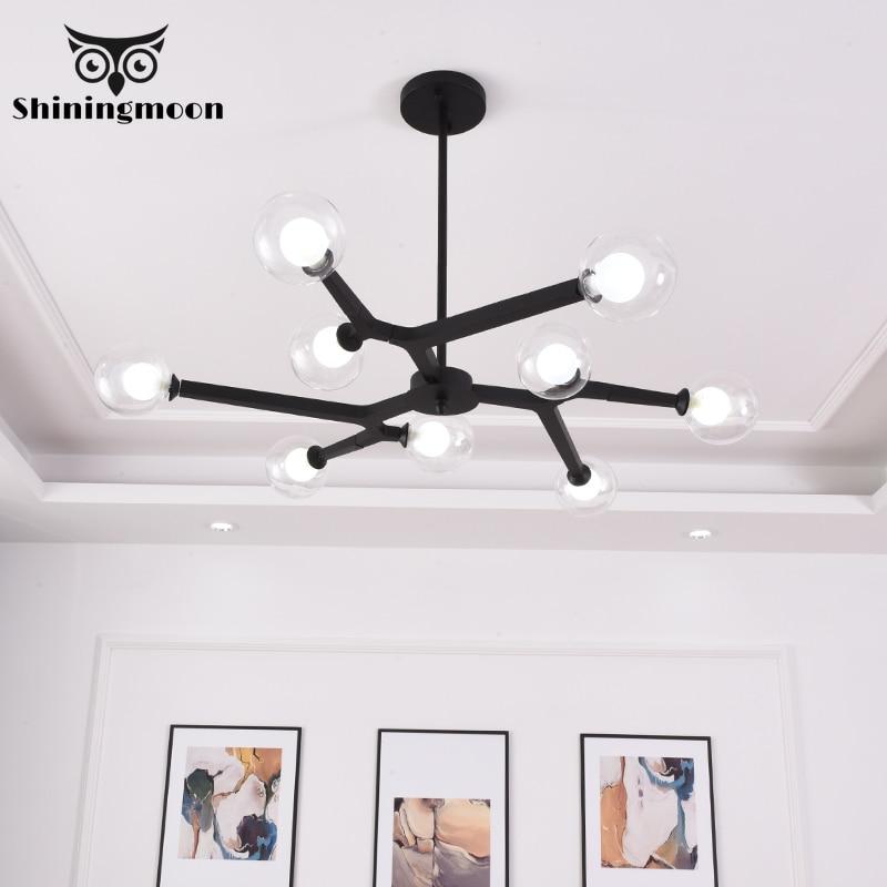 Modern Grass LED Chandelier Lighting Black Metal Lampshades for Living Room Bedroom Decor Hanging Dining Lights Kitchen Fixtures