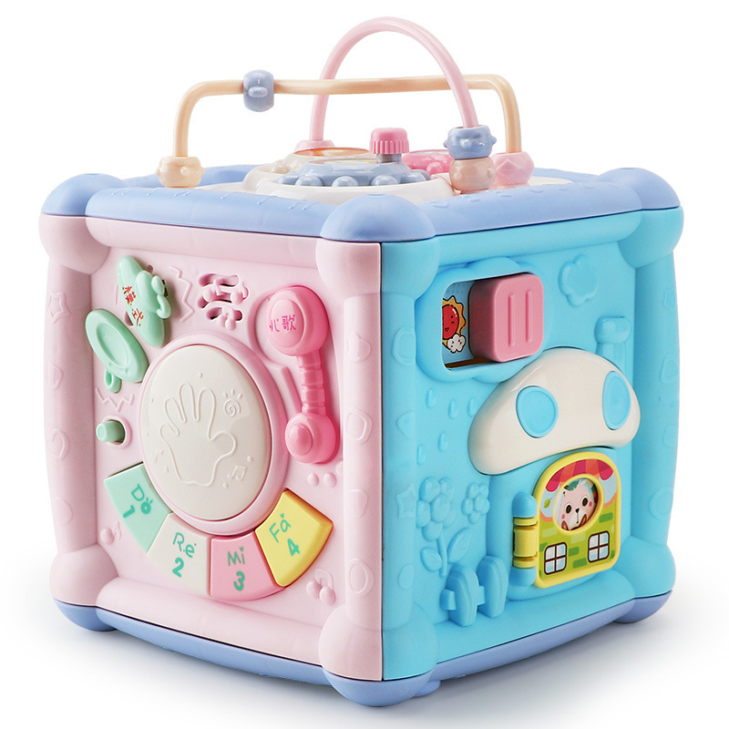 Multifunctional Musical Toys Toddler Baby Box Music Electronic Activity Cube Gear Clock Geometric Blocks Educational Toys D55015