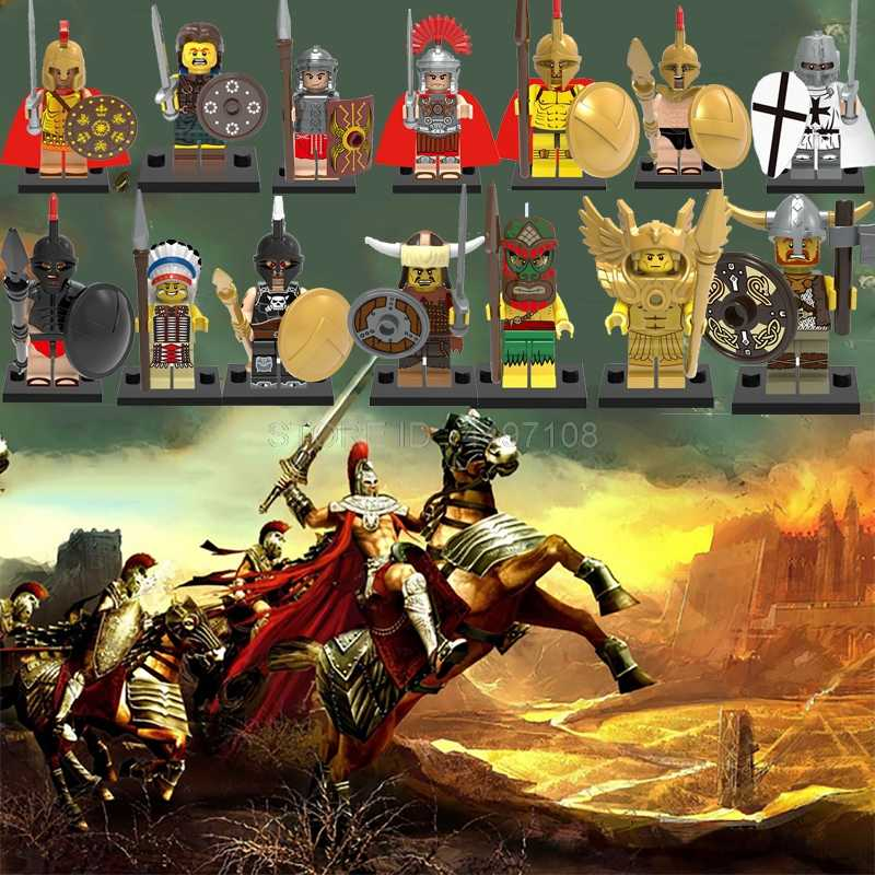 The 300 Spartans Roman Warrior Elf Hunter Ares King Movie Figure Building Technic Blocks Hobbit Kids Toys Star Army Soldiers War