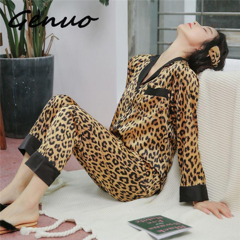 Genuo Women Pajamas Leopard Pyjamas Women 2019 Spring Satin Pijamas Women Casual Elegant Pyjama Femme Silk Pijama Mujer Homewear