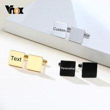 Vnox – boutons de manchette carrés simples pour homme, en acier inoxydable, gravure initiale, pour bureau, accessoires pour chemises de mariage