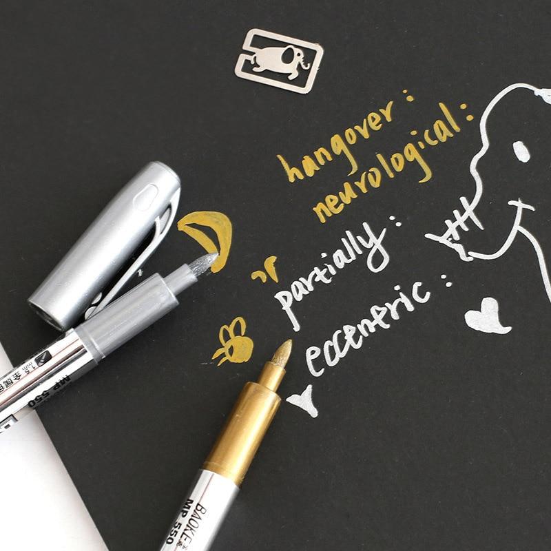 2Pcs/set Metallic Color Pen Stationery Art Kits Marker Signing Pens Gold Silver Photo Album Scrapbook Decor Watercolor Paint Pen