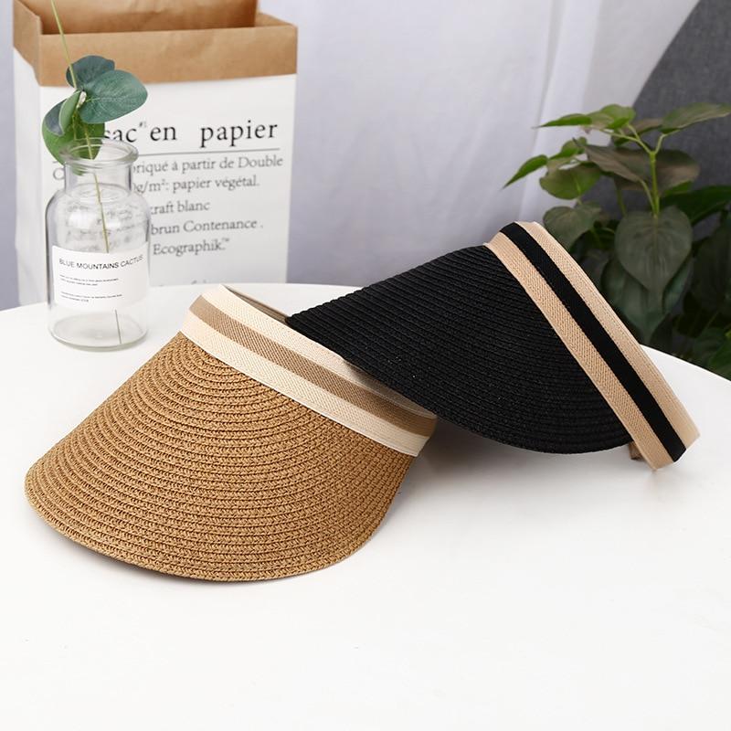 New Woman's Sun Hats Hand Made DIY Straw Bowknot Visor Caps Parent-Child Summer Cap Casual Shade Hat Empty Top Hat Beach