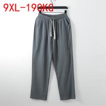 9XL lato jesień Plus rozmiar spodnie męskie 5XL 6XL 7XL 8XL bawełniana pościel duży rozmiar luźne spodnie męskie 5 kolory tanie tanio NEFEILIKE summer Szerokie spodnie CN (pochodzenie) COTTON Linen CASUAL Na co dzień Mieszkanie Z KIESZENIAMI REGULAR 3 - 5