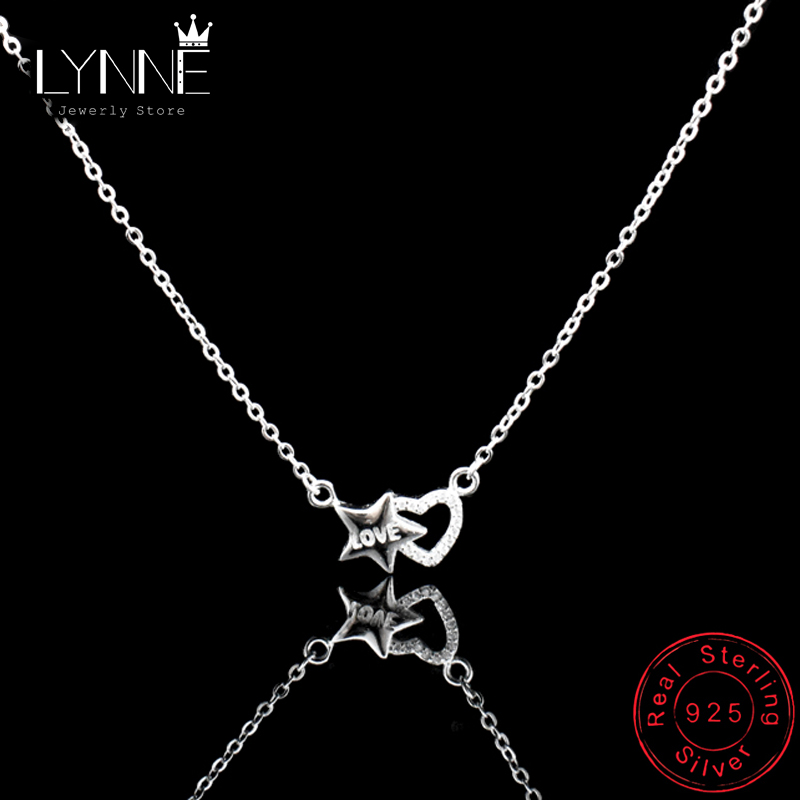 New Fashion 925 Sterling Silver Star & Heart CZ Pendants Necklaces Elegant Rhinestone Columbone Chain Necklace Zinxhir Gratë Gratë Gratë
