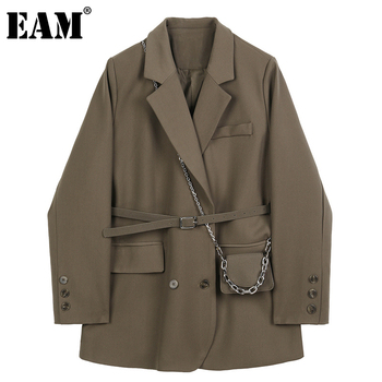 [EAM] נשים חום כיס גדול גודל בלייזר חדש דש ארוך שרוול Loose Fit מעיל אופנה גאות אביב סתיו 2021 1DB850