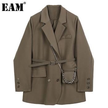 [EAM] giacca da donna marrone tascabile di grandi dimensioni nuova giacca a maniche lunghe con risvolto manica lunga moda marea primavera autunno 2021 1DB850