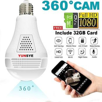 цена на YUNSYE 1080P 360 VR Camera security camera Wifi light panorama bulb IP camera fisheye HD night vision two-way audio cctv camera