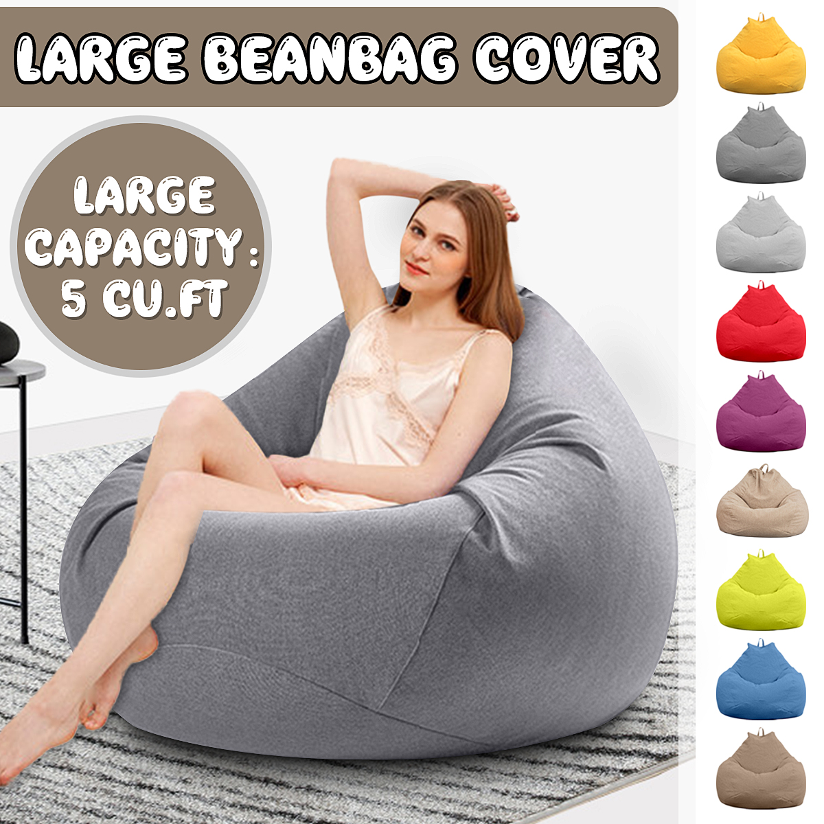 Chairs Cover Seat-Bean-Bag Filler Couch Lounger Sofas Pouf-Puff Tatami Lazy Living-Room title=