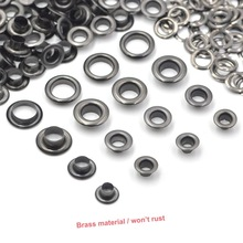 KALASO 100sets Pure Brass Material Gun Black 5mm/6mm/8mm/10mm Grommet Eyelet With Washer Fit Leather DIY Craft Shoes Belt Cap