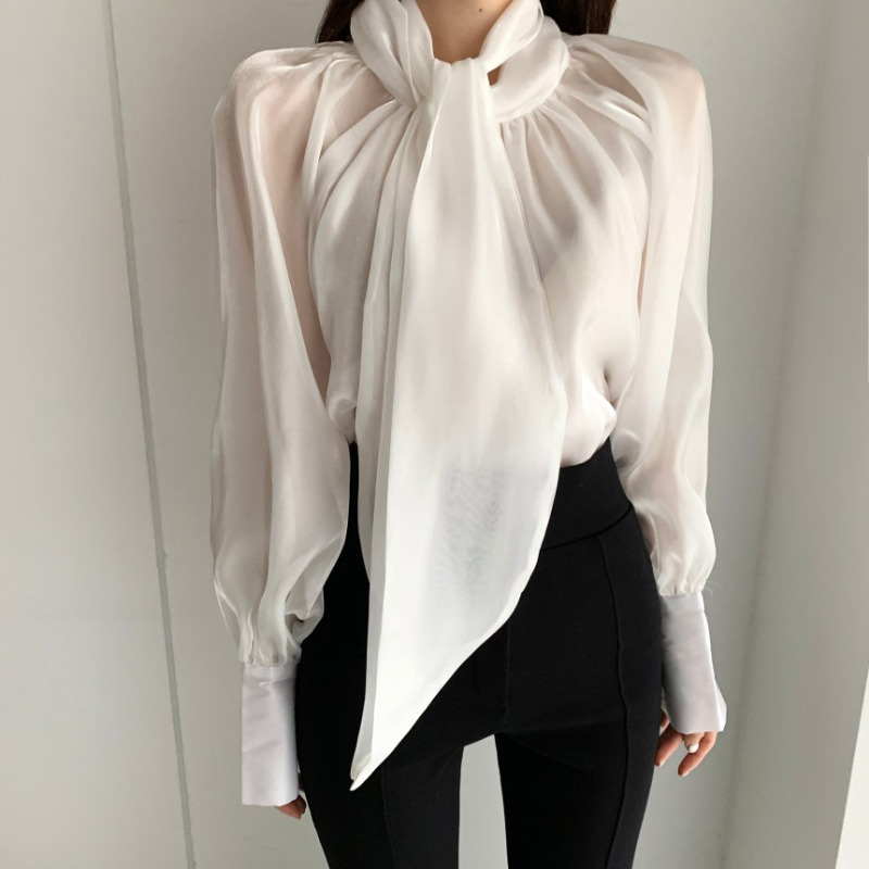 2021 spring and summer new Korean ins western style sweet bow tie tulle long sleeved chiffon shirt women