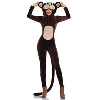 New Style Jumpsuit Adult Brown Monkey Costume Women Cosplay Clothes for Halloween Carnival Party Fashion Cartoon Animal Clothing