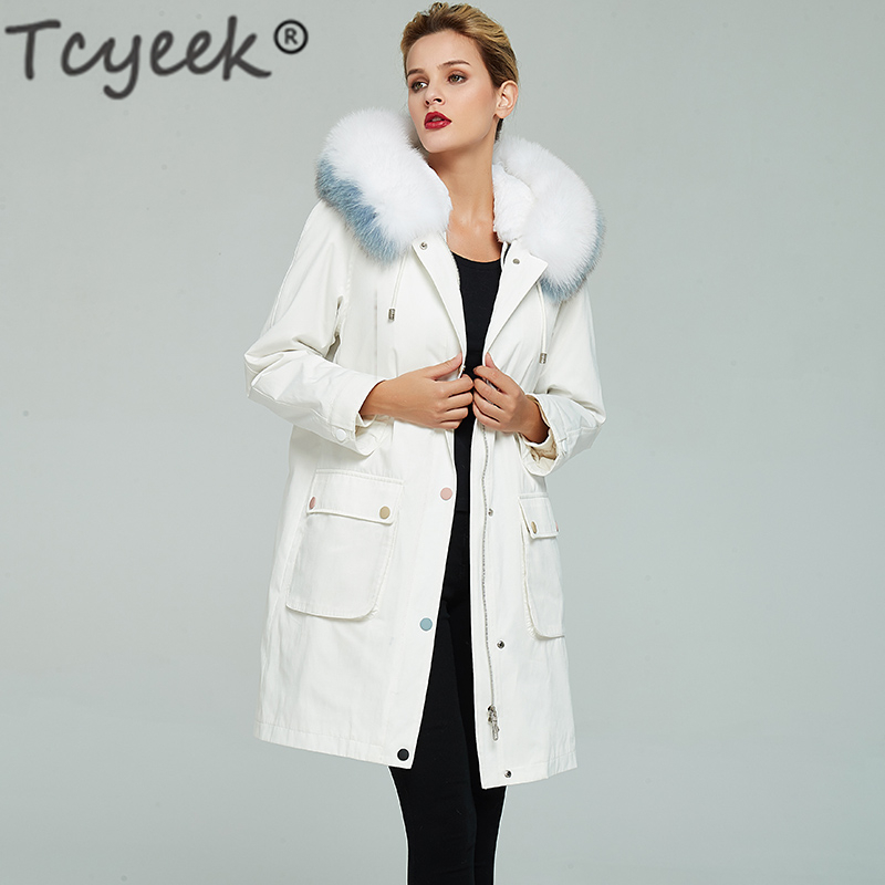 Winter Jacket Parka Long-Coat Fox-Fur-Collar Rex-Rabbit-Fur Natural Women Warm Liner