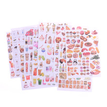 Papiers autocollants coréens transparents en Pvc, Mini plante animale, texte alimentaire, flocons décoratifs pour enfants, papeterie de cartes, 2 feuilles