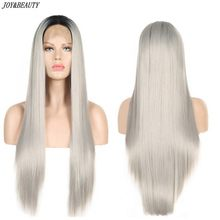 JOY&BEAUTY Long Straight Ombre Gray Synthetic Lace Front Wig Heat Resistant For