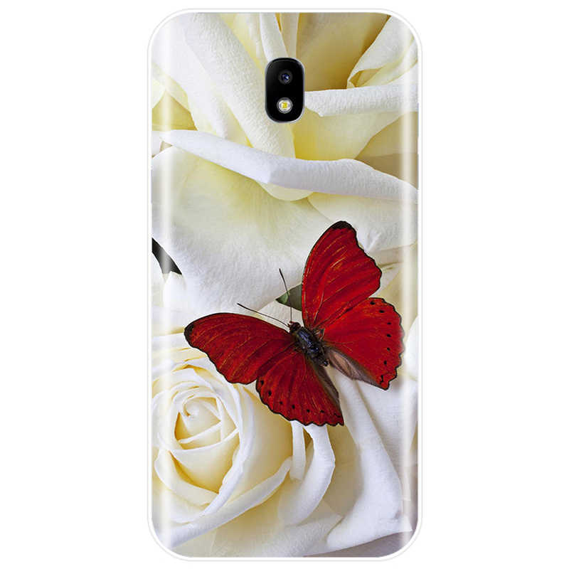 butterfly on white roses flower Cover TPU Phone Case For Samsung Galaxy J3 J4 J6 J8 2018 J3 J5 J7 2017 J5 J7 2016 J3PRO J7 PLUS