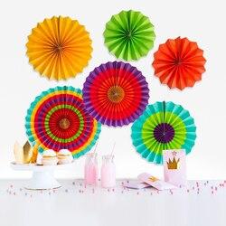 6 conjunto de nova moda mexicana festa de férias decoração suprimentos ventilador de papel conjunto flor casamento arranjo de decoração de papel fã flor