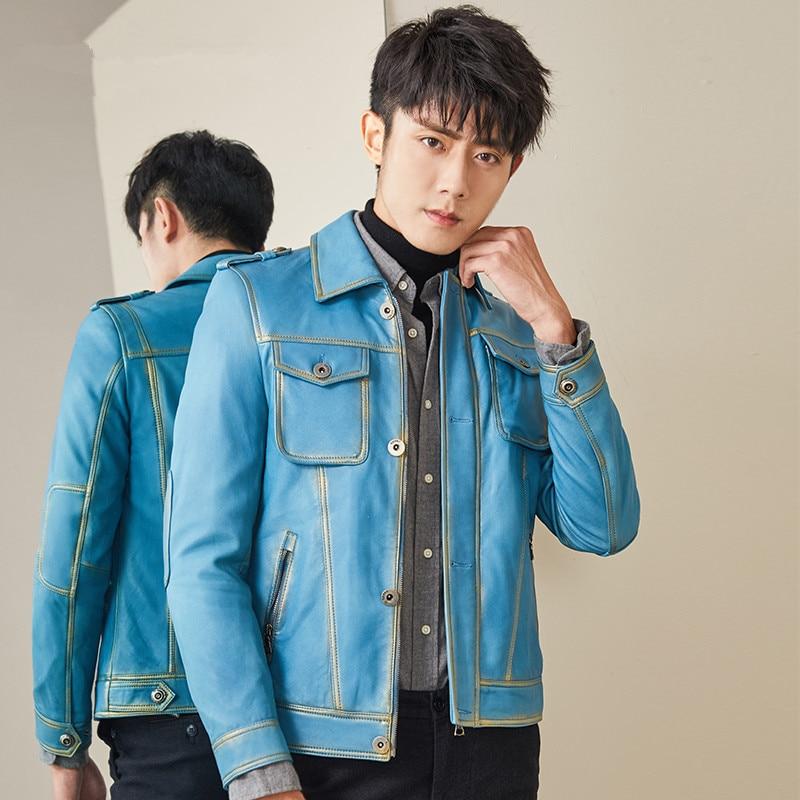 Leather Jacket Sheepskin Genuine Leather Coats Men Korean Short Spring Autumn Leather Jackets MG-1840016 YY283