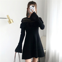 Women Dress Elegant Ruffles Knitted Hollow Out Mini Vestido Transparent Robe Runway Slim Fit Long Sleeve Pullovers Offcie Lady