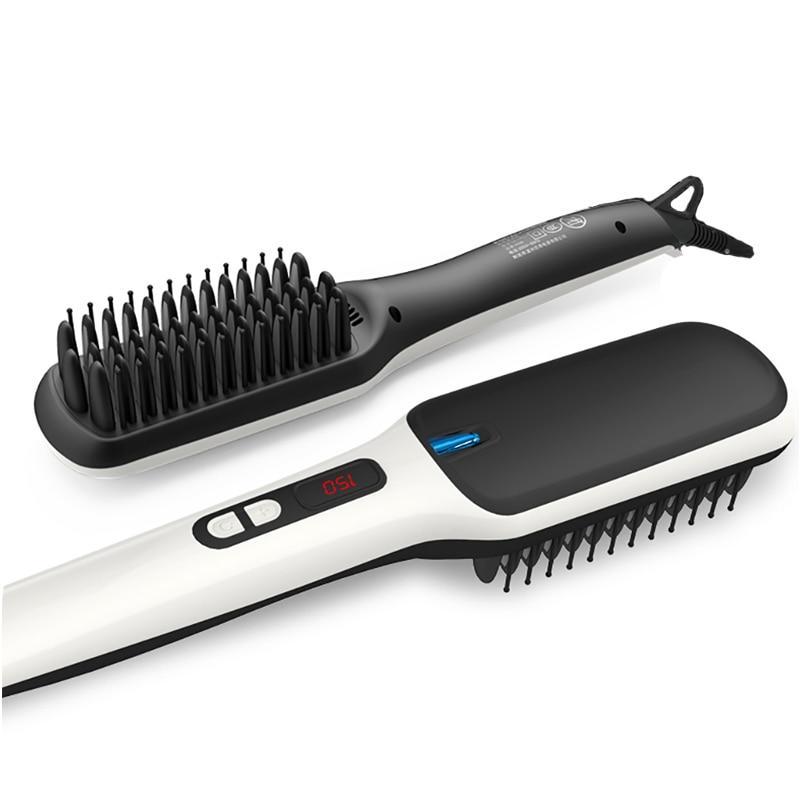 PRITECH Fast Heating Ionic Hair Straightener Brush Cordless Electric Hair Straightener Comb LCD Display Flat Hair Styling Tool