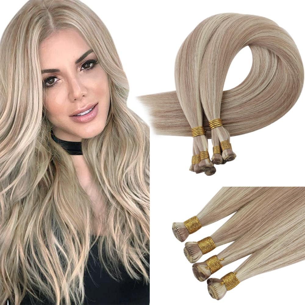 [New]VeSunny Invisible Hand Tied Virgin Human Hair Weft Sew in Remy Hair Skin Weft Straight Remy Hair Bundle 10g/Bundle #P18/613
