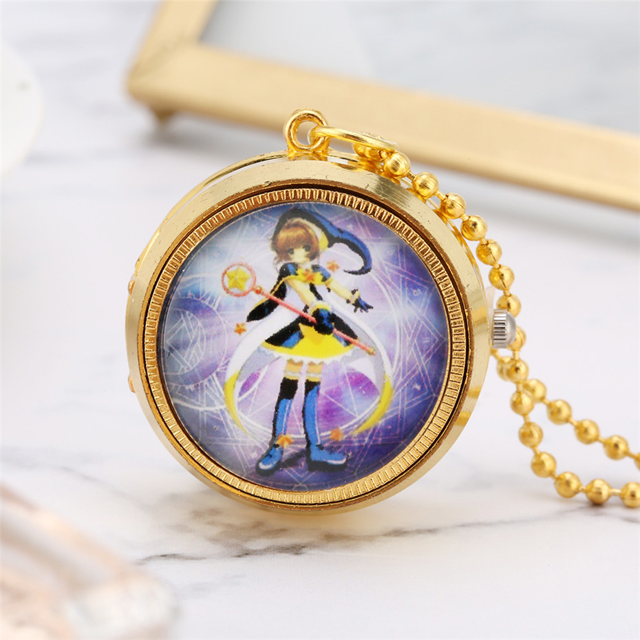 Lovely Sailor Moon Theme Quartz Pendant Watch Gold Necklace Pocket Watch Rotatable Hunter Design Full Hunter Clock Gifts Kids