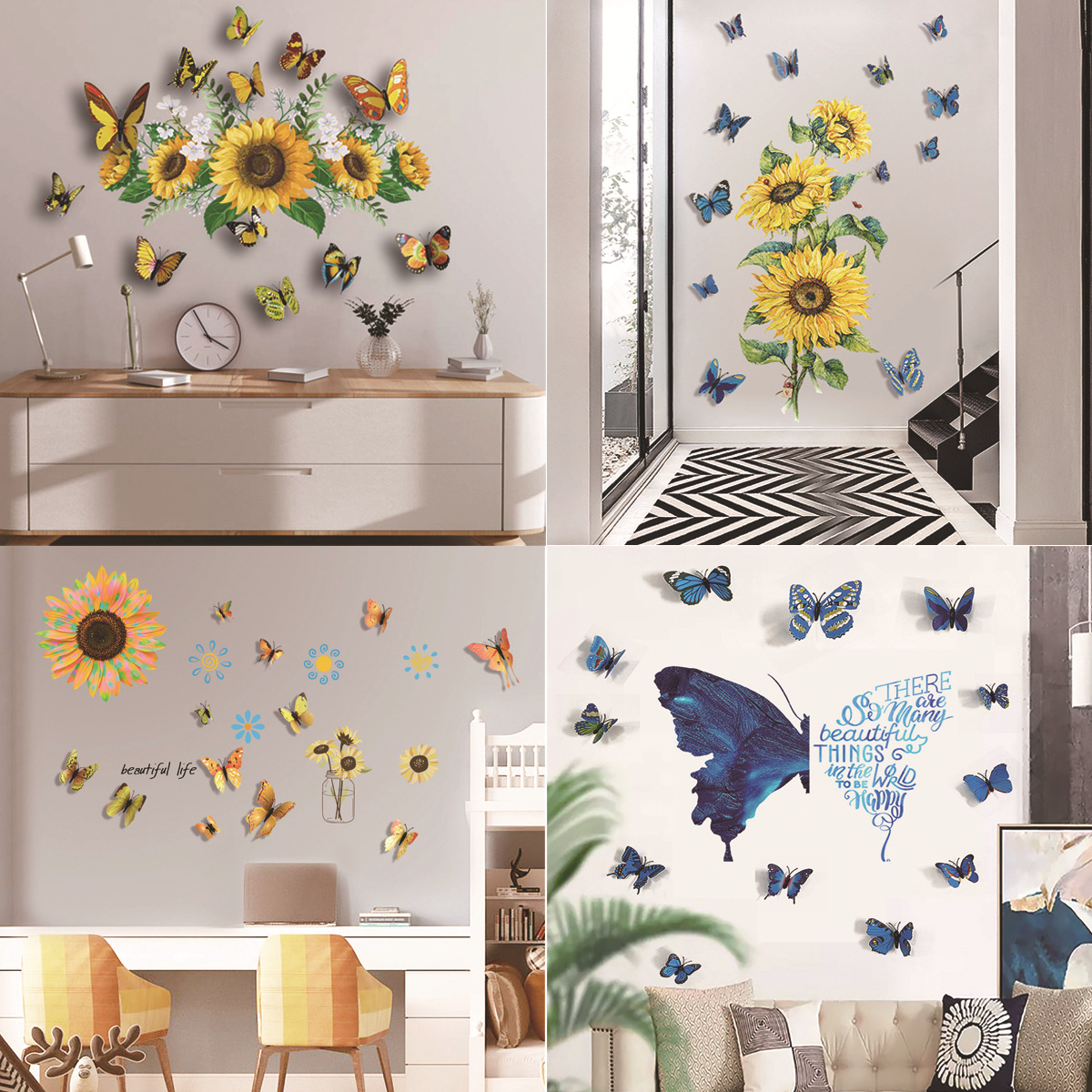 Sunflower Wall Sticker 3D Color Three Dimensional Butterfly Creative Living Room Bedroom Background Decoration Wall Sticker